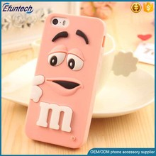 Hot selling M and M chocolate bean soft 3D silicone case for iphone 6s plus