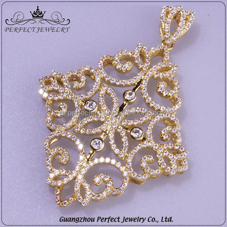 Perfect Jewelry Factory Direct Sale Charming Quadrangle Shape Pendant With Clear Cz 18K Gold Jewelry