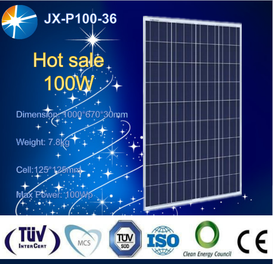 High efficiency poly 100w photovoltaic solar panel with TUV certificate for on and off grid system
