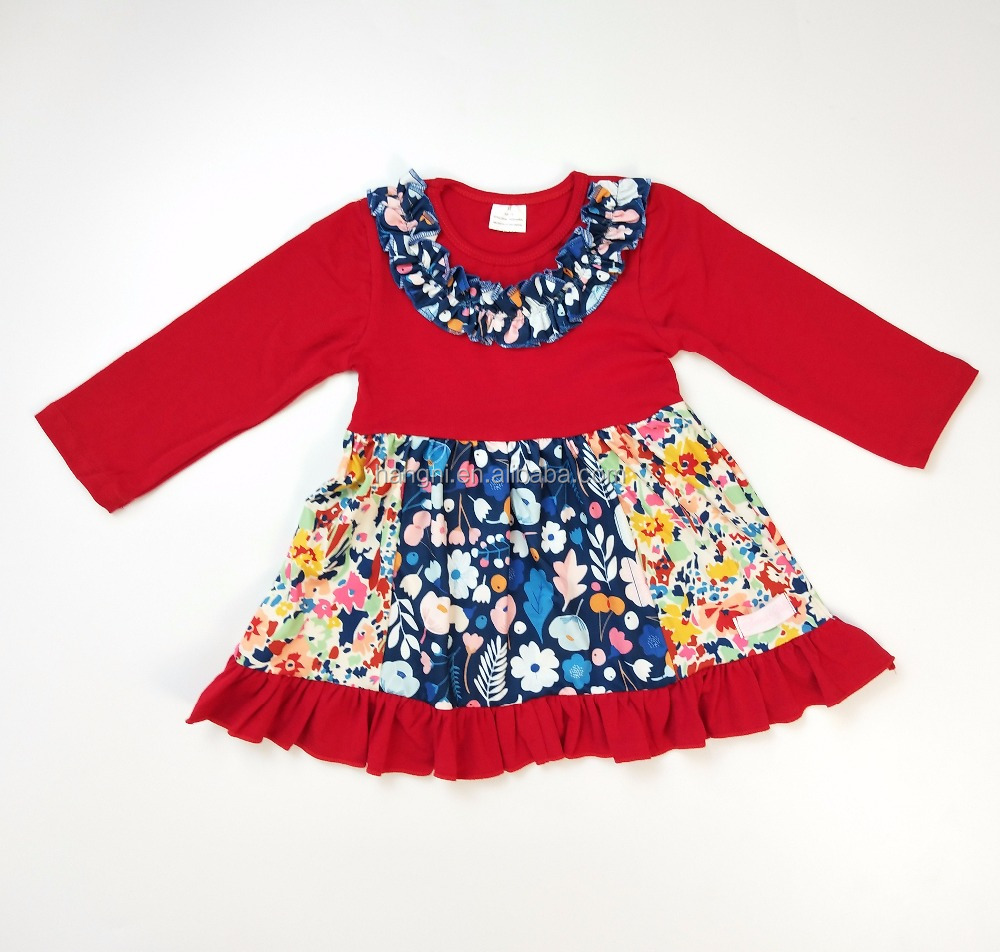 High quality autumn winter dress for baby girl floral print colorful soft cotton party boutique dress