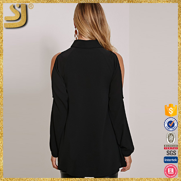 OEM factory price plus size woman off shoulder chiffon blouse, sexy black backless blouse