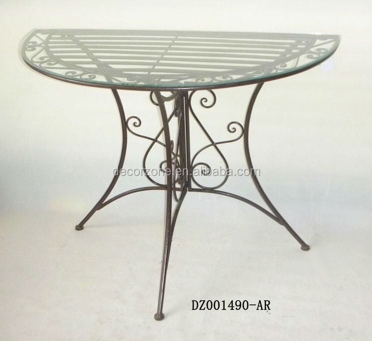 Chinese wrought iron 4 legs half round glass top table