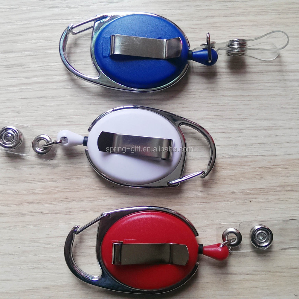 retractable badge reel keychain/Yoyo name ID card holder/work badge key chain