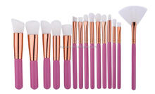 new pink handle+white synthetic hair makeup brush set 15 piece face brushes