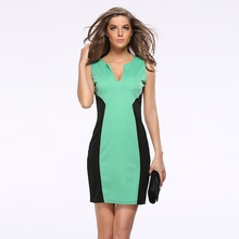 JS 20 Fashion sexy dress with hot star and fashion stitching V-neck pencil dress with sleeveless design 601
