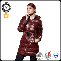 Cheap fasion hoody warm slim long down coat with belt for ladies wholesale