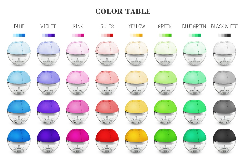 Funglan rainbow color kenzo leaf USB water air purifier around computer baby care freshener water revitaliser