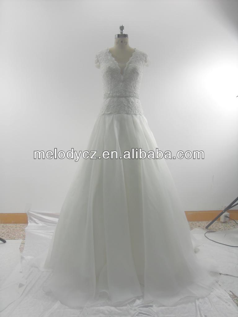 Hot sale organza mesh white elegant lace wedding dresses for fat woman