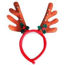 New Style Christmas Reindeer Antler Headband Christmas Hair Ornament(Brown+Red)