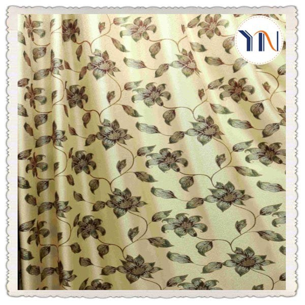 high quality classical flower jacquard curtain fabric for hotel decroration flame retardant