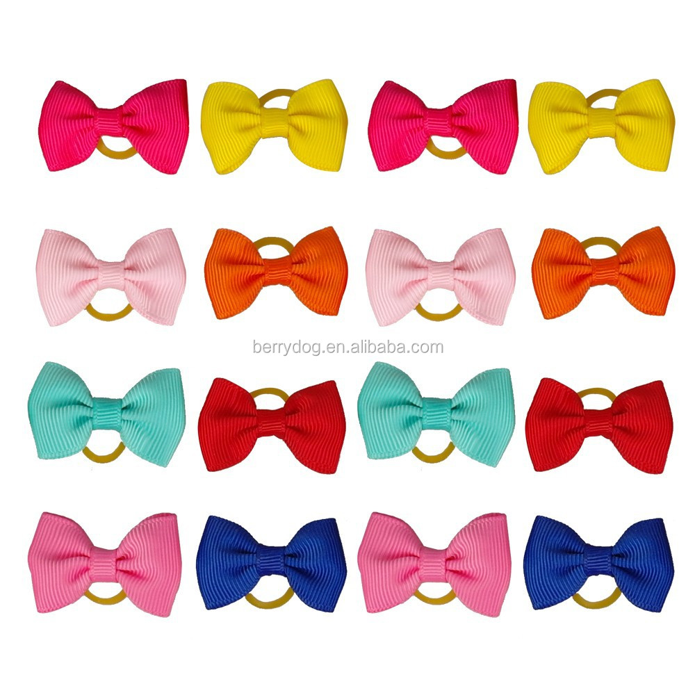 Pet Dog Hair Bow Colorful Handmade Rubber Band dog grooming
