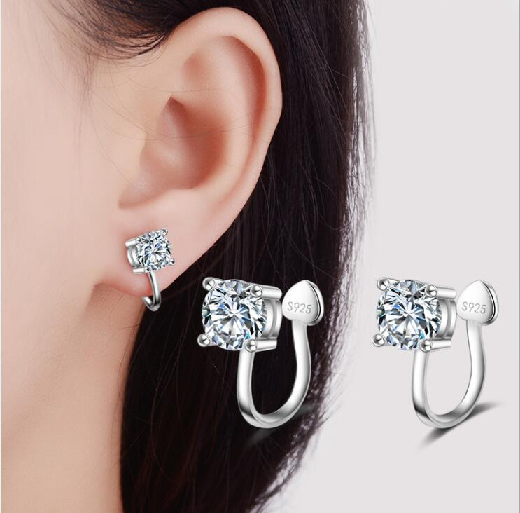 Fashion S925 silver Wrap Ear Cuff Earring No Piercing zircon ear Clip Platinum women earring