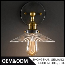Interior decoration glass fancy design loft wall lamp with edison bulb for dinning room shop resturant