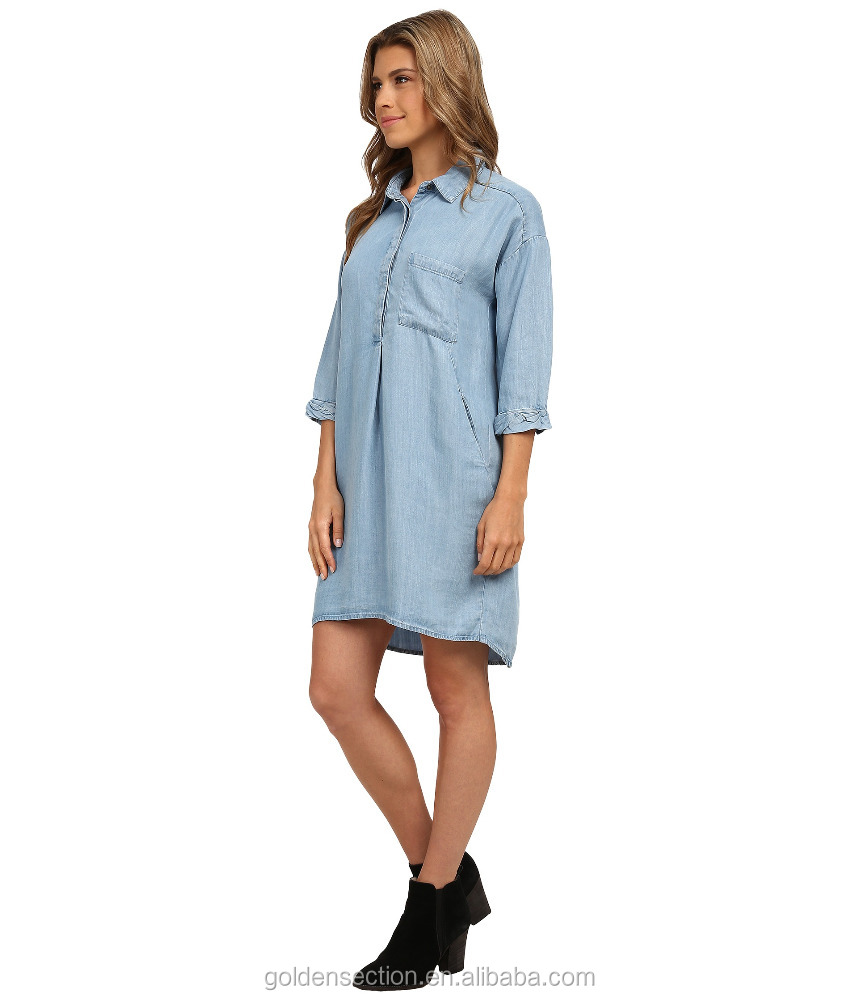 Lady Shirt Dress With High Low Hem, Woven Fabrication With A Denim Look Dress, High Quality Dress