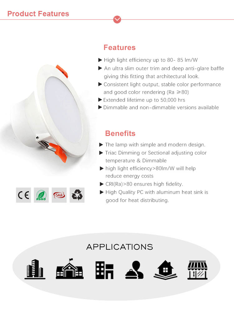 CE ROHS SAA  Retrofit Integrated Led Triac Dimmable Led  Downlight