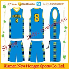 100% polyester custom sublimated blue basketball tops and bottoms