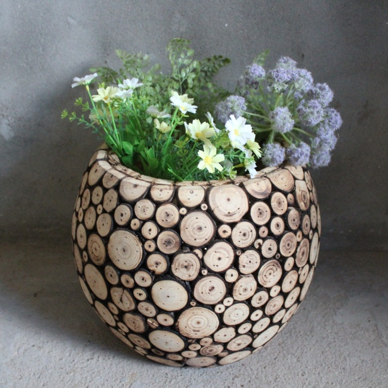 Indoor and Outdoor Custom Painted Wooden Craft Decorative Flower Pot Planter