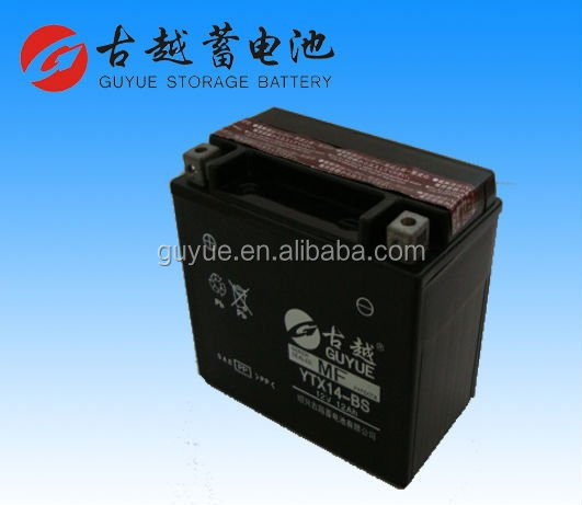 Super Quality 12V 12Ah Dry Charged MF Motorcycle Battery YTX14-BS