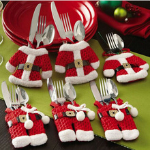 Xmas New Year Christmas Ornament Decorations Santa Silverware Holders Pockets Dinner Decor christmas decorating