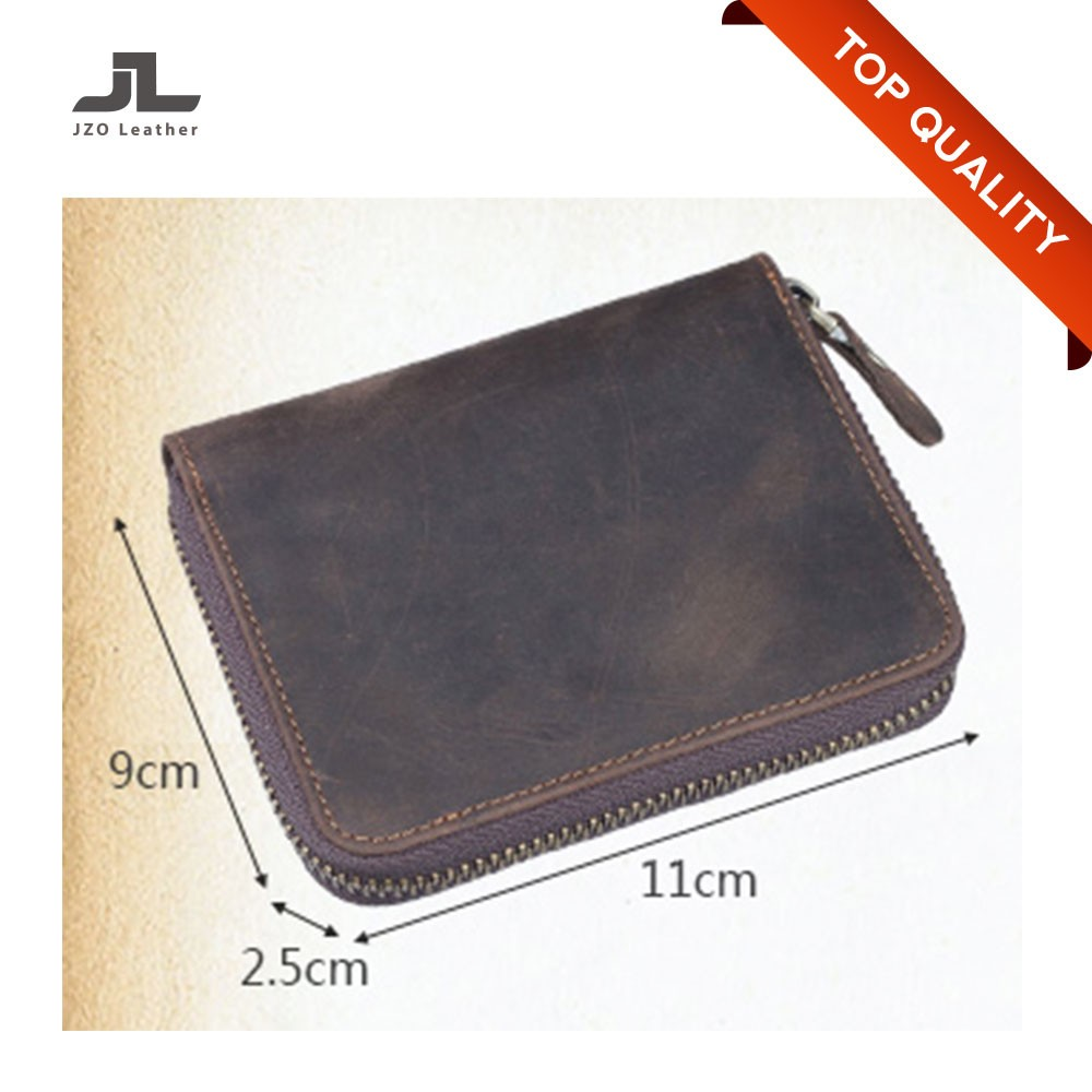 Hot Sale Crazy Horse Cow Hide Leather Wallet for Mens/Men Zipper Wallet
