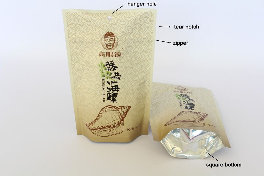 Customize Printing Laminated Plastic Aluminum Foil Transparent Front Packing Bag For Nuts