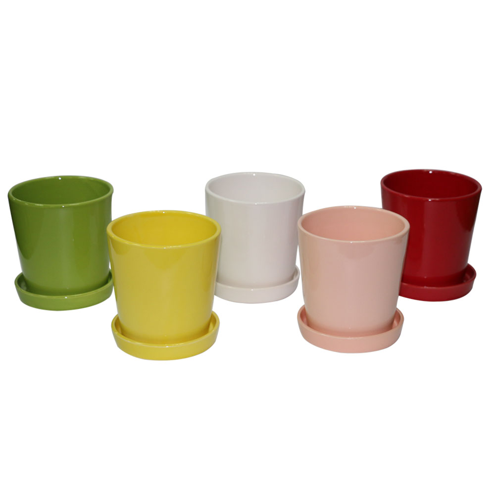 5 Colors Glazed Ceramic Flower Pot,Ceramic Outdoor Gardening Planter