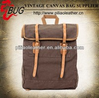 hot sell vintage canvas backpack with genuine leather rucksack,hiking bag, travel bag manufacture
