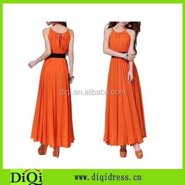 Women's Bohemian Casual Chiffon Maxi Dress, Beautiful Long Dress Orange