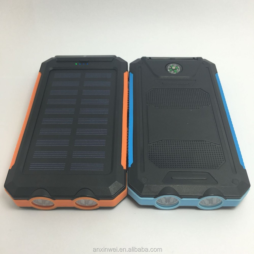 Solar power bank 8000mah 2a output 2 LED light solar power bank charger