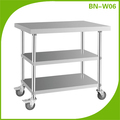 BN-W06 Three layers kitchen equipment stainless steel work table with wheels