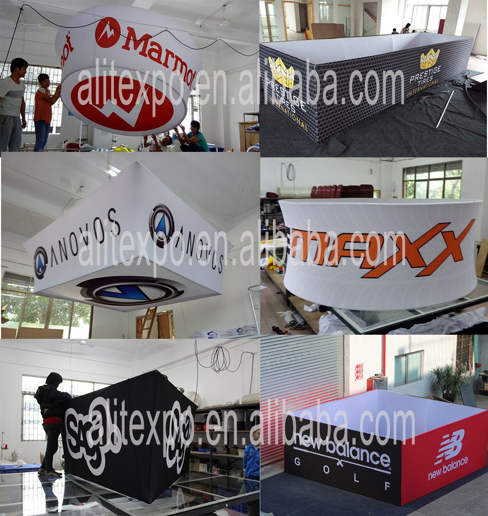 Transfer Printing Exhibition Circular Vertical Hanging Banner from Ceiling