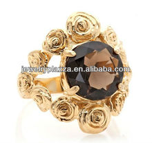 Unique Rose Gold Plated Silver Jewelry,Smoky Quartz Rosette Ring