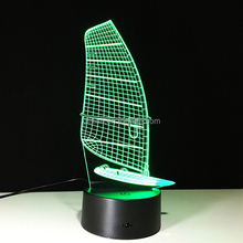 Sailboat Shaped Acrylic 3D Baby Night Light LED Lamp Sleeping Lighting
