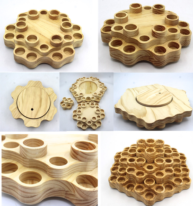 Wooden Case Aromatherapy Natural Wood Round Essential Oil Bottles Storage Display Rack Organizer