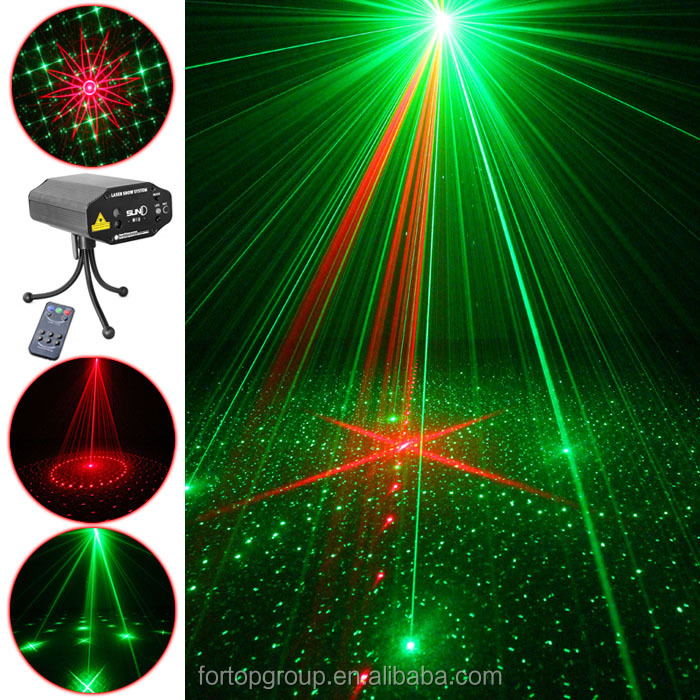 New SUNY 12V Indoor Mini led Laser light/lights Projector Tripod Stage Lighting with 18 in 1 RG Patterns for DJ Disco Party Club