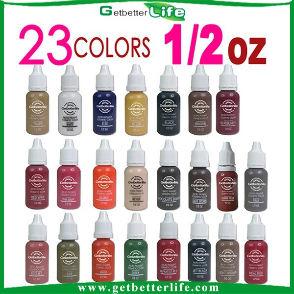 2015 getbetterlife hot selling 23 colorS 1/2 OZ eyebrow tattoo ink, tattoo color eyebrow ink, eyebrow microblading ink set