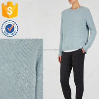 Autumn Light Blue Cashmere Contrast Knitted Panel Blouse Manufacture Wholesale Fashion Women Apparel (TF0066B)