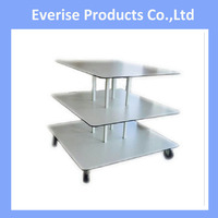 store fixture 3 tier clothing glass jewelry cosmetic stand retail display table