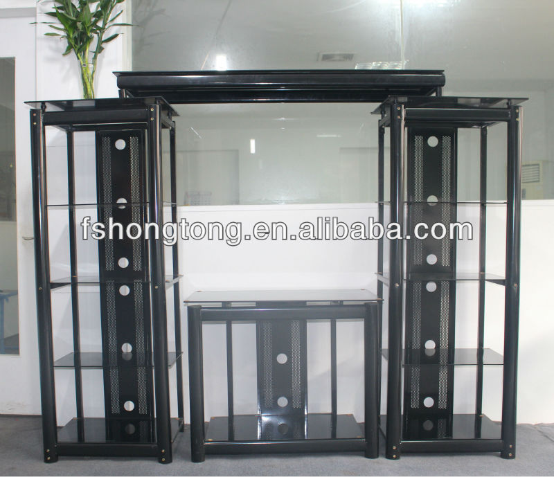 Living room furniture TV rack - tempered glass and strong tube