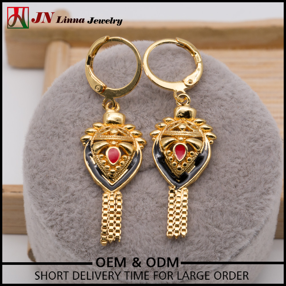 JN1083 Indian traditional style jewelry 18k gold plated copper material earrings earring factory china