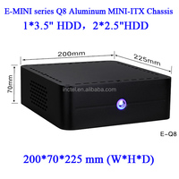 "Best ITX chassis Empty case without power E-Q8 E-MINI series Q8 small casing with 1*3.5"" HDD 2*2.5""HDD"