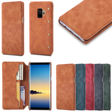 Retro Handmade Matte PU Leather Case Mobile Phone Case For Samsung S9 Case