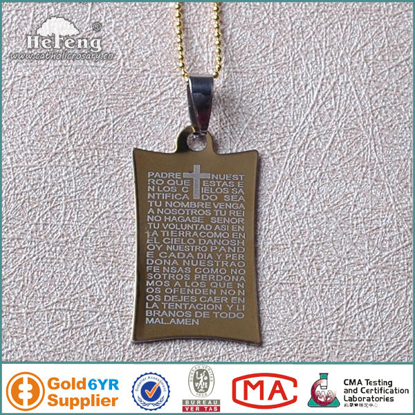 Golden Men's Stainless Steel Saint Bible Rosary Necklace