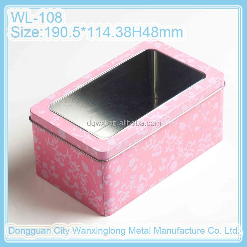 Colorful rectangle cookie tin box with a PVC window
