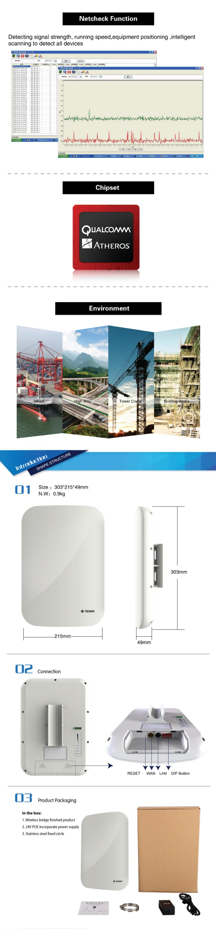 Todaair High Power 300Mbps 5km Wireless AP Router Bridge Signal Booster for IP Camera Monitoring Network Device