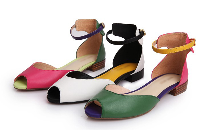 Sexy pictures of women flat shoes colorful women flat sandal peep toe flat sandals for ladies