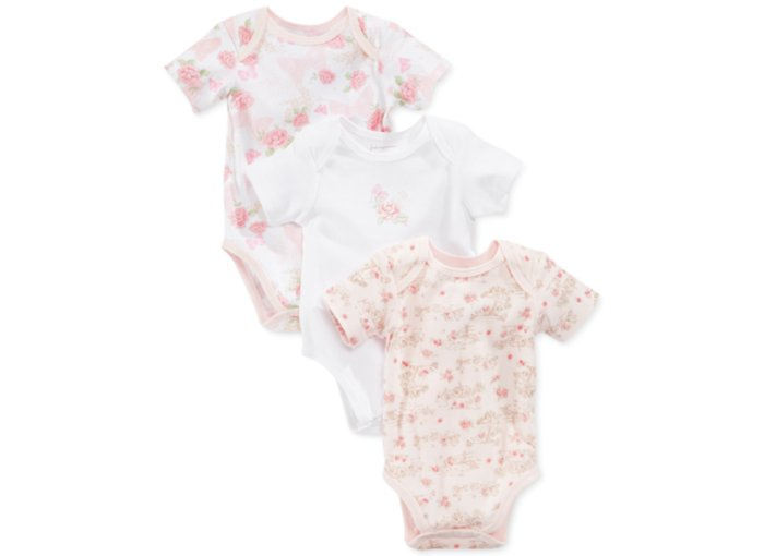 Wholesale Newborn Baby Girls Sweet Pink Clothes Flowers Printed Rompers