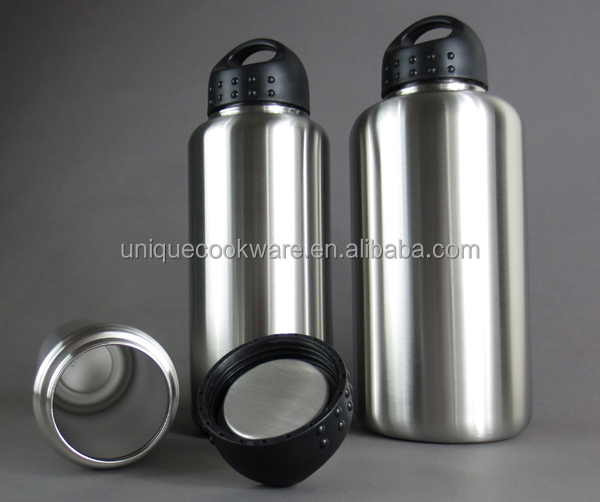 18/8 BPA Free Toxin Free Stainless Loop Cap 100% Stainless Steel Interior Wide Mouth 64OZ Water Bottles Set