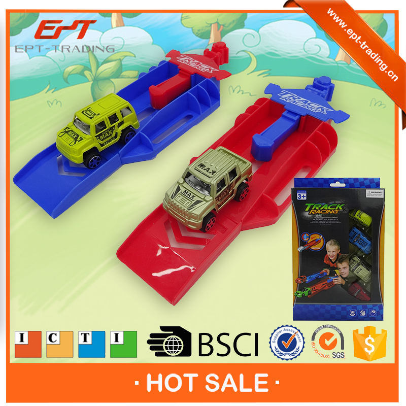 Plastic eject track shooting racing car toys for kids