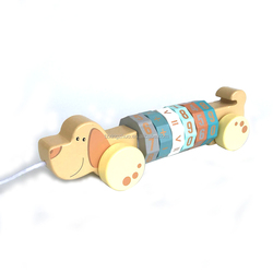 hot sale dog animals educational pull wooden math toys for children
